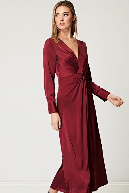 Twisted Knot Satin Maxi Dress in Wine