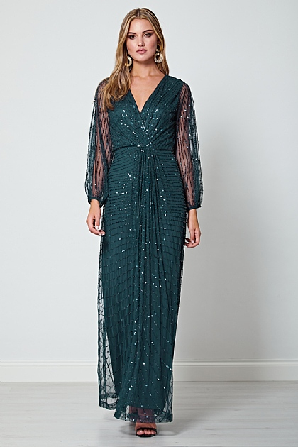 Sequin Beaded Long Mesh Sleeve Maxi Dress