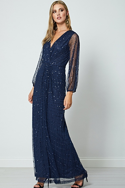 Navy Sequin Beaded Long Mesh Sleeve Maxi Dress