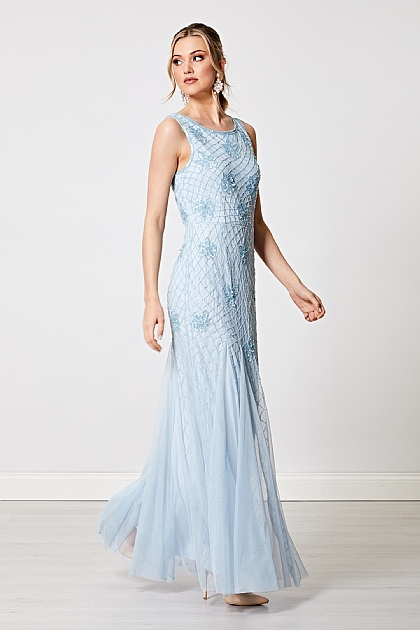 Embellished Sequin Maxi Dress in Baby Blue
