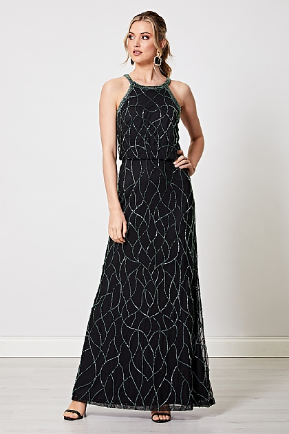 Black with Green Sequin Embellished Cami Maxi Dress