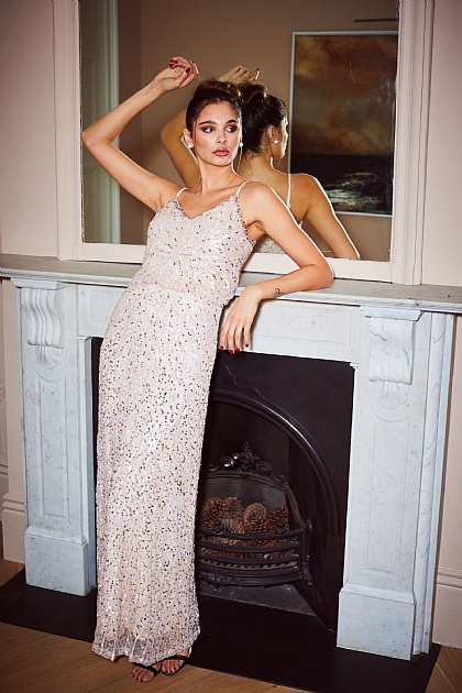 Light Pink Embellished Sequin Cami Maxi Dress
