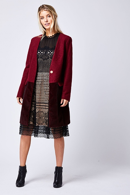 Burgundy Two Tone Winter Coat
