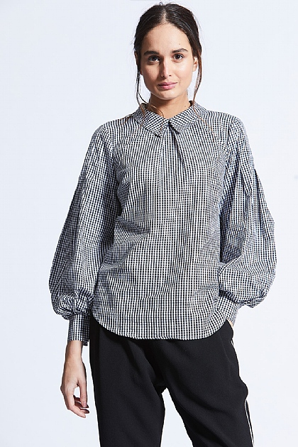 Grey Checked Bell Sleeve Shirt