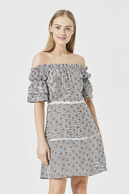Grey Floral Printed Bardot Mini Dress