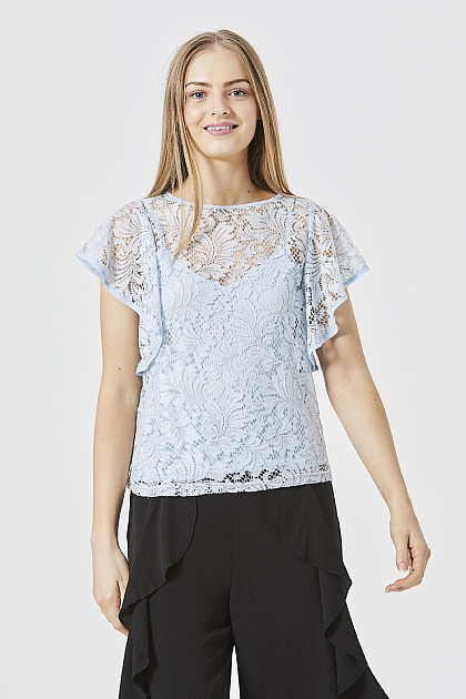 Light Blue Floaty Lace Top with Cami Lining