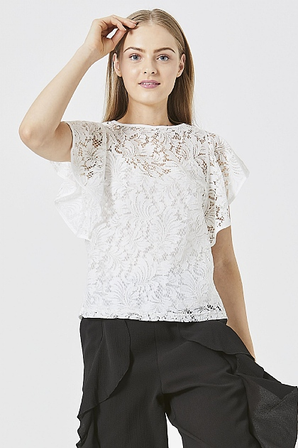 White Floaty Lace Top with Cami Lining