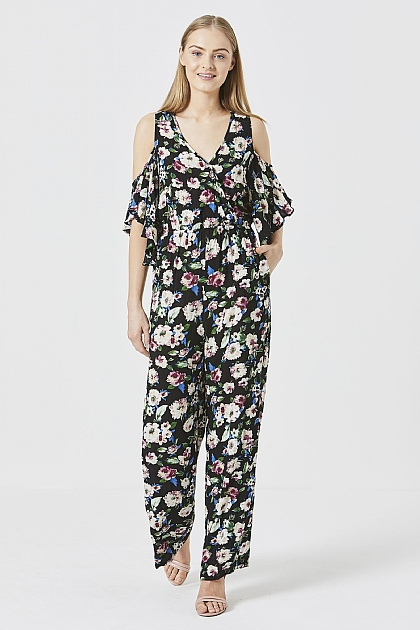 Black Cold Shoulder Floral Jumpsuit