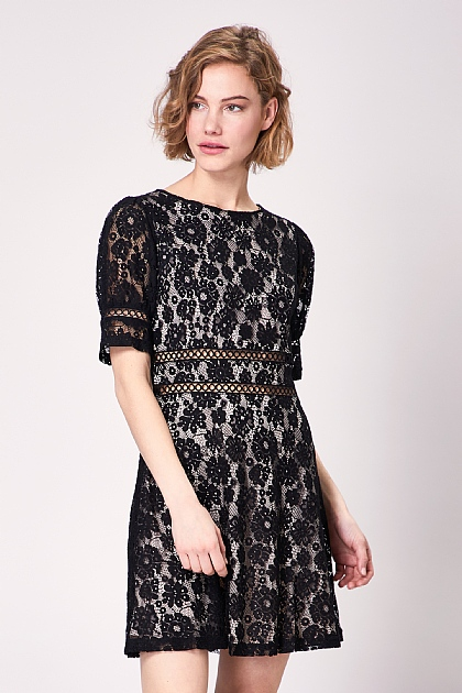 Black Lace Short Sleeve Mini Tea Dress