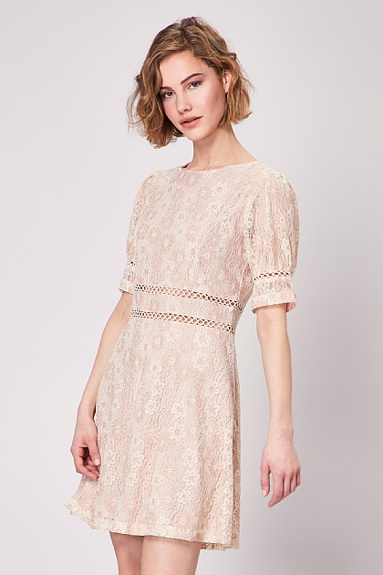 Nude Lace Skater Mini Dress