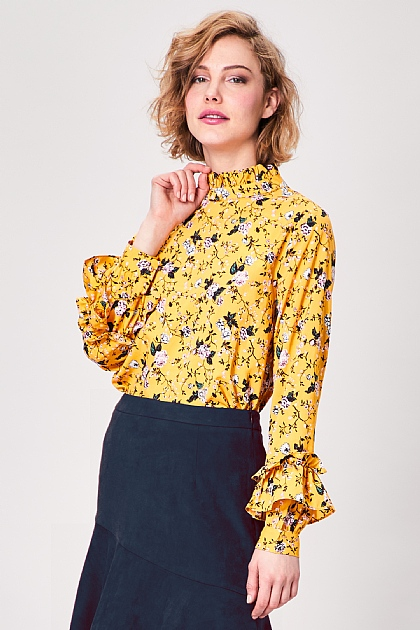 Yellow Floral Long Sleeved Blouse