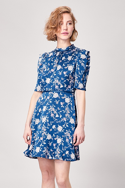 Blue Floral Ruched Sleeve Mini Tea Dress