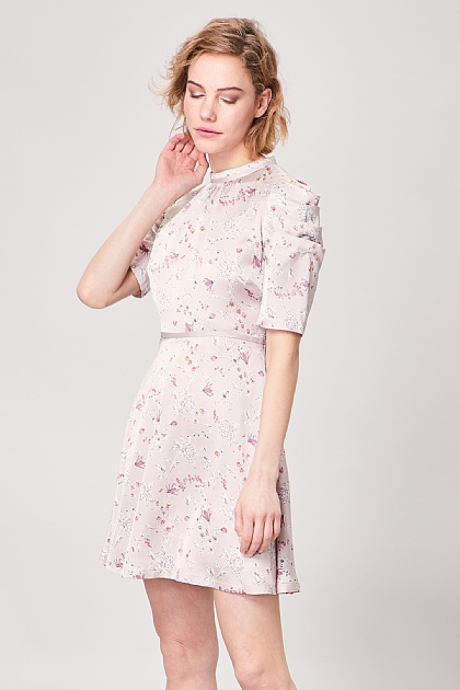 Pink Floral Ruched Sleeve Mini Tea Dress