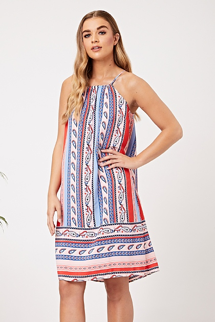 Multi Stripe Mix Print Cami Mini Dress