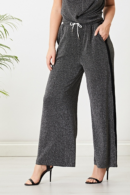 Black Glitter Sparkle Jogger Set Wide Leg Trousers