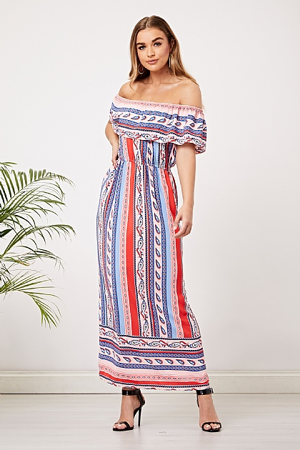 Multi Stripe Mix Print Off Shoulder Maxi Dress