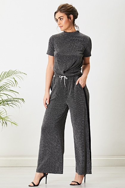 Lurex Cropped Top Jogger Loungewear set in Silver Black Glitter Sparkle
