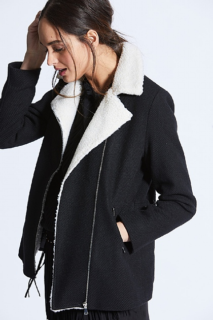 Black and White Shearling Lined Coat