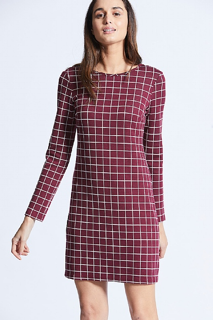Burgundy Long Sleeved Grid Checked Bodycon Midi