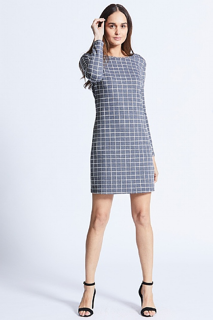 Grey Long Sleeved Grid Checked Bodycon Midi