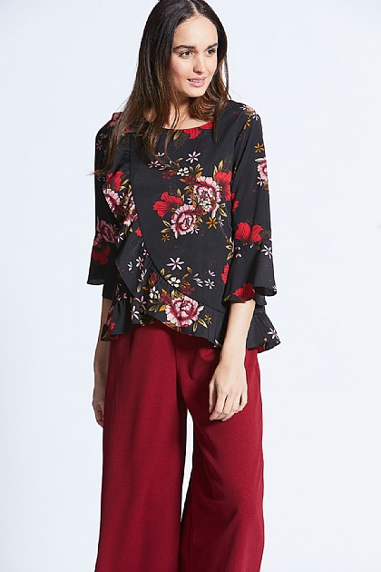 Black Flounced Wide Sleeved Floral Top