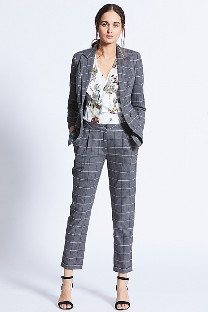 Grey Checkered Monochrome Tailored Trousers