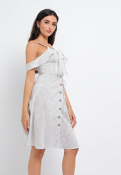 Striped Buttoned Midi Dress in White