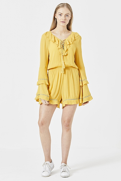 Yellow Flute Sleeved Oversized Mini Playsuit