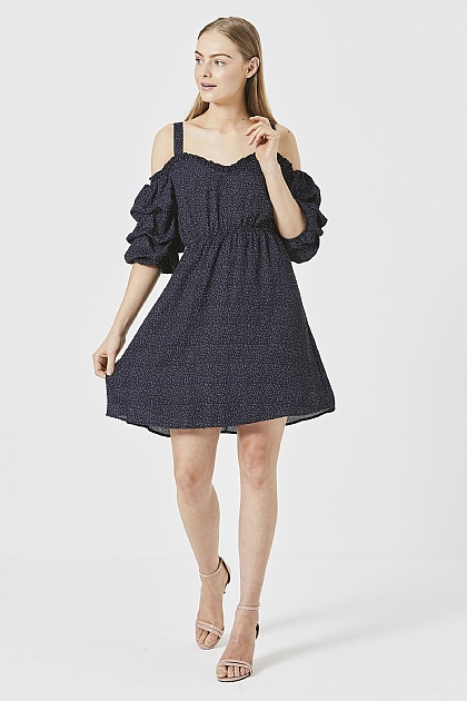 Navy Ruffled Detail Puff Sleeve Dress