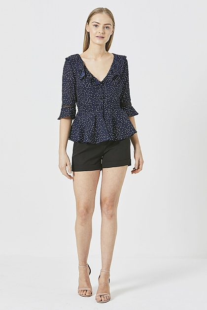 Navy Polka Dot V Neck Blouse