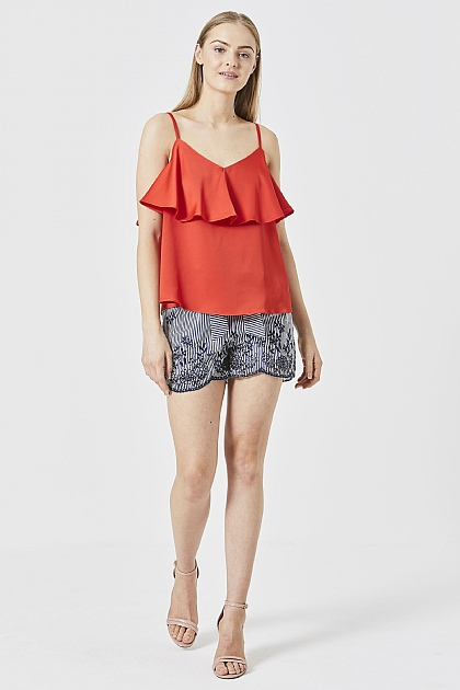Red Satin Double Layered Cami Top