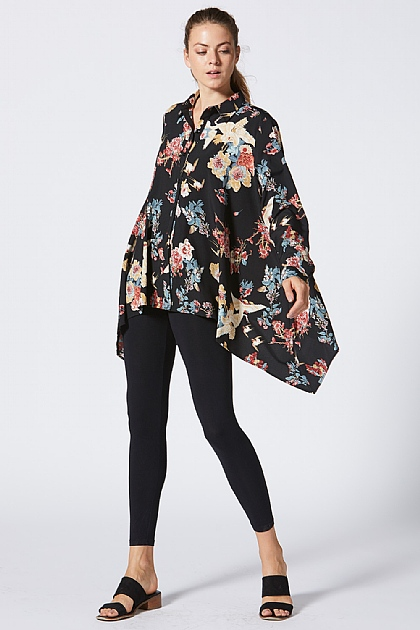 Black Floral Patterned Oversized Shirt