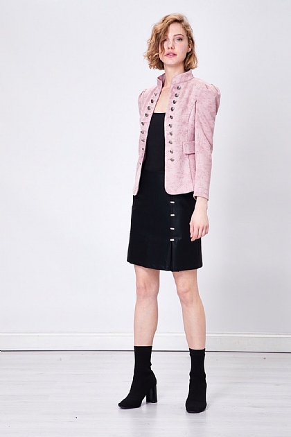 Pink Military Faux Suede Floral Blazer Jacket