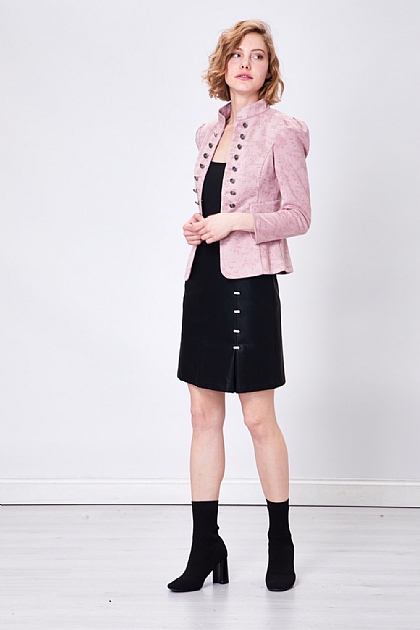 Pink Military Style Floral Blazer Jacket