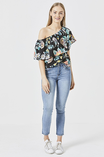 Black Floral One Shoulder Bardot Blouse