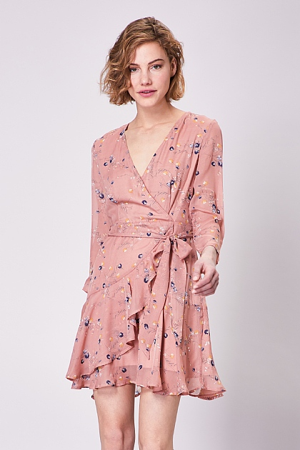 Pink Floral Long Sleeved Mini Dress