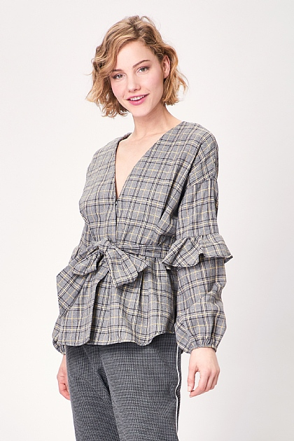 Grey Wrap Long Sleeve Checked Top