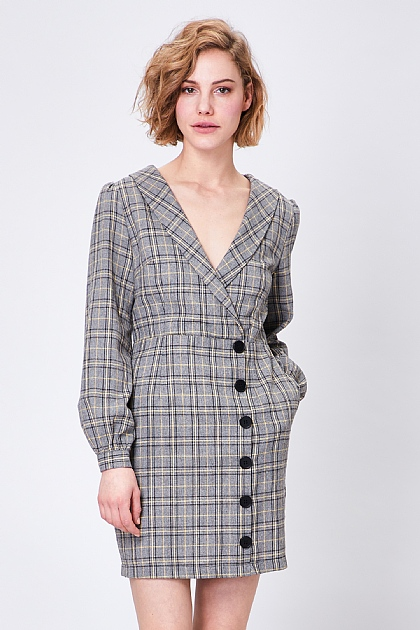 Grey Wrap Checked Puff Sleeve Mini Dress