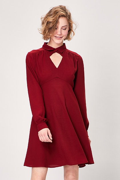 Burgundy Keyhole Collar Long Sleeve Midi Dress