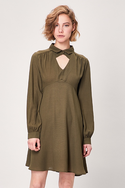 Khaki Keyhole Collar Long Sleeve Midi Dress