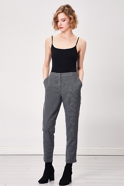 Dark Grey Smart Checked Stripe Trousers