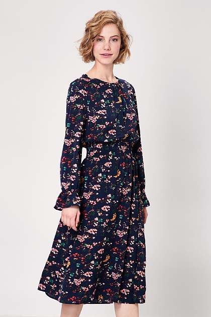 Navy Floral Long Sleeved Midi Dress
