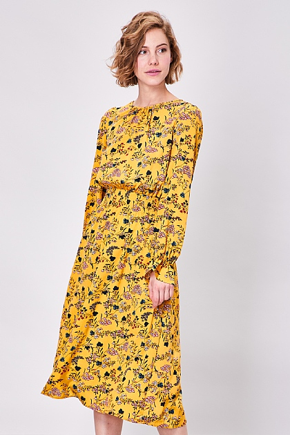 Yellow Floral Long Sleeved Midi Dress