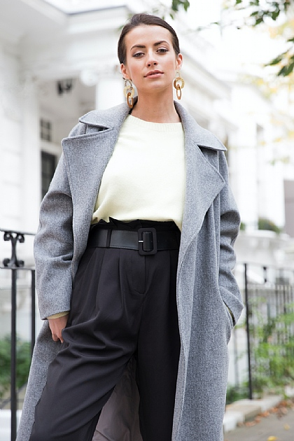 Grey Fabric Belted Mid Length Trench Coat