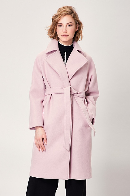 Pink Fabric Belted Mid Length Trench Coat