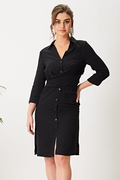 Black Satin Lined Midi Shirt Dress