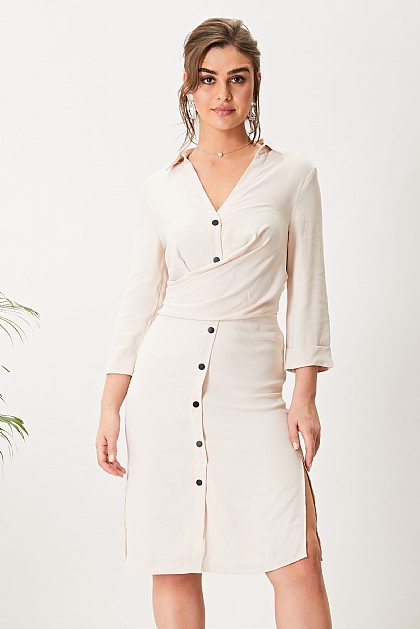 Nude Satin Lined Midi Shirt Dress