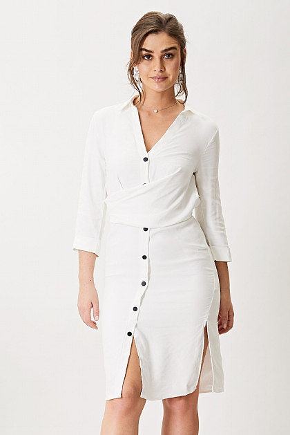 White Satin Lined Midi Shirt Dress