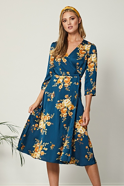 Navy Floral Satin Midi Wrap Dress
