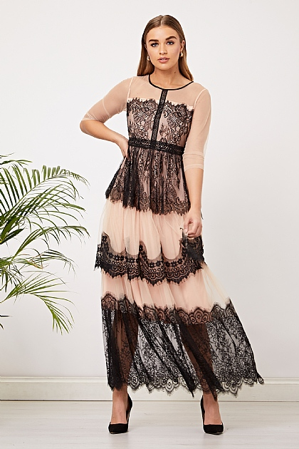 Beige and Black Lace Maxi Layered Dress